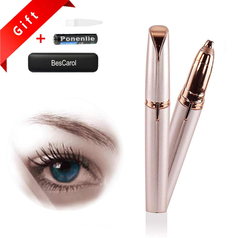 Latest Eyebrow Hair Remover Electric Eyebrow Trimmer Razor Shaver Painless Facial Hair Remover with Hard Travel Case Best Gift in 2018 for Women (Rose Gold) BesCarol