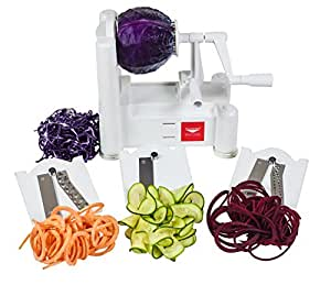 Paderno World Cuisine 3-Blade Vegetable Slicer/Spiralizer, Counter-Mounted and includes 3 Stainless Steel Blades