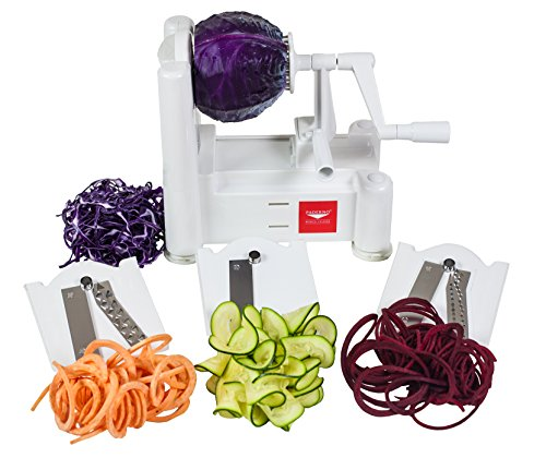 Paderno World Cuisine 3-Blade Vegetable Slicer / Spiralizer, Counter-Mounted and includes 3 Stainless Steel Blades]()