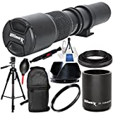 500mm F/8.0 Multi Coated High-Power Preset Telephoto Lens (For Canon) 10PC Accessory Bundle – Includes 2.0X Tele-Converter + T-Mount Adapter + MORE