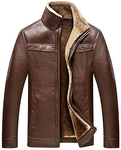 Chouyatou Men's Winter Full Zipper Thick Sherpa Lined Faux Leather Jacket (Brown, (Brown Sherpa Jacket)