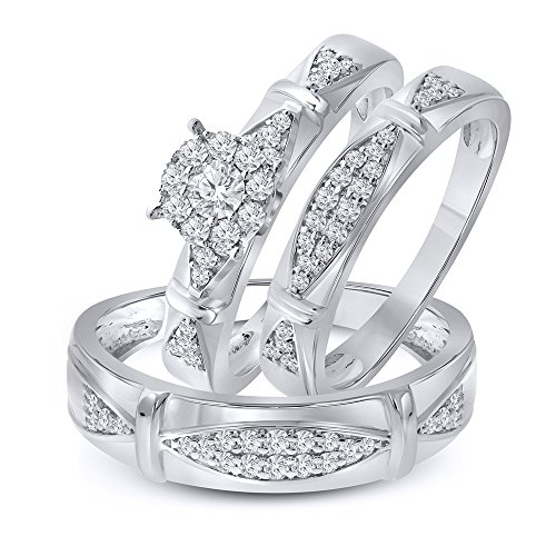 5/8ct Simulated Diamond Sterling Silver Wedding Ring Trio Ring Set Him US10 and Her US7 (Rings Her Wedding Trio For)