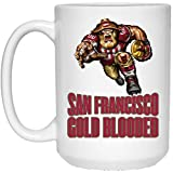 49er coffee cup - San Francisco 49ers Coffee Mug | 49ers Mug | Gold Blooded Text Player | 15 oz Ceramic Coffee Mug Cup Great For Tea & Hot Chocolate | NFL NFC Football | Perfect Unique Gift Idea For Any SF 49er Fan