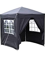 Airwave 2x2m Waterproof Black Garden Pop Up Gazebo - Stunning Outdoor Marquee Tent with Carry Bag
