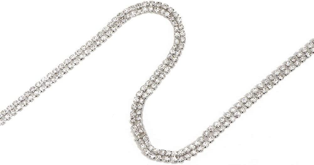 #1 3mm Silver Double Rows 1 Yard Rhinestones Chain Trim Ribbon,DIY Clear Crystal Glass Faux Drill Trims Applique for Clothes Furniture Decoration Accessories