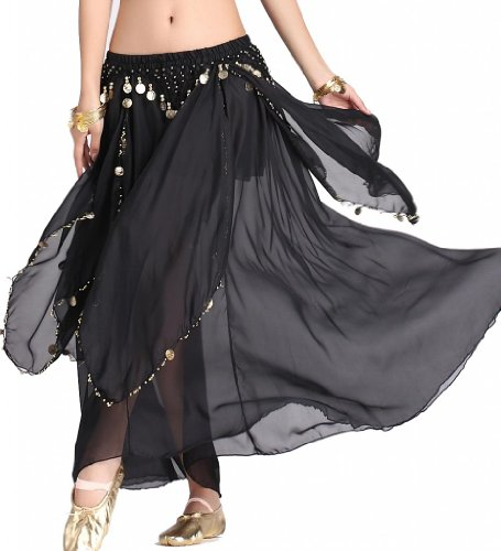 ZLTdream Women's Belly Dance Chiffon Skirt With Coins Black, One ()