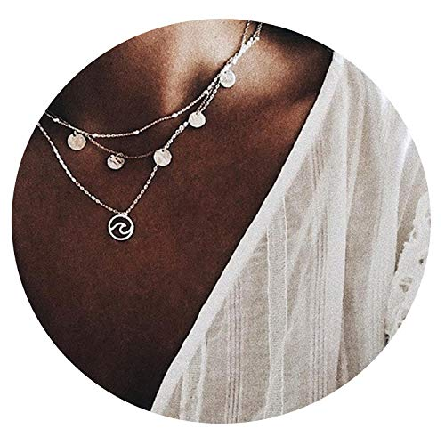 Multi Layer Moon Cross Flower Clavicle Chain Simulated Pearl Necklaces Pendants
