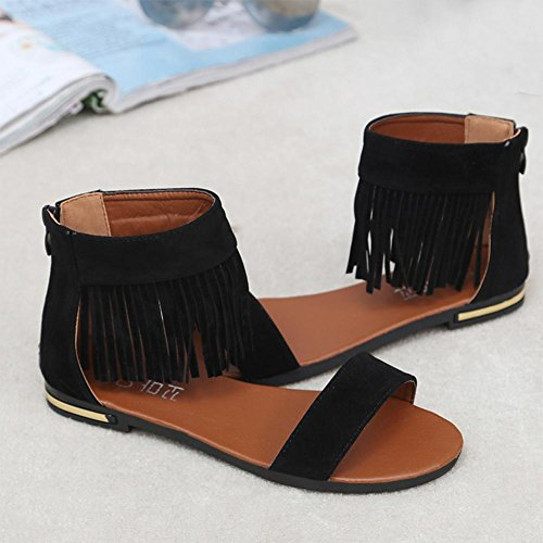 Binmer (tm) Sommar Kvinnor Sandaler Platta Mode Tofs Bekväma Damer Skor Sandaler Svart