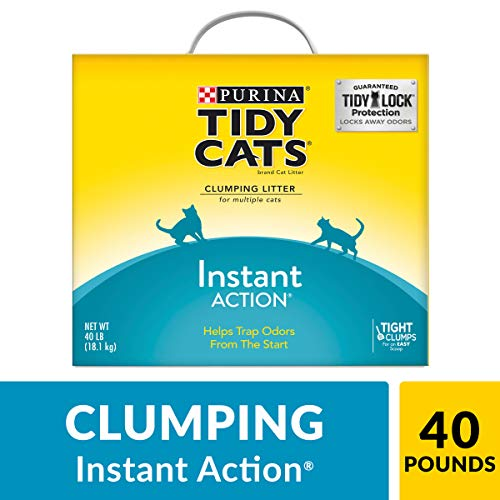 Purina Tidy Cats Clumping Cat Litter; Instant Action Multi Cat Litter - 40 lb. Box (Best Clumping Cat Litter For Multiple Cats)