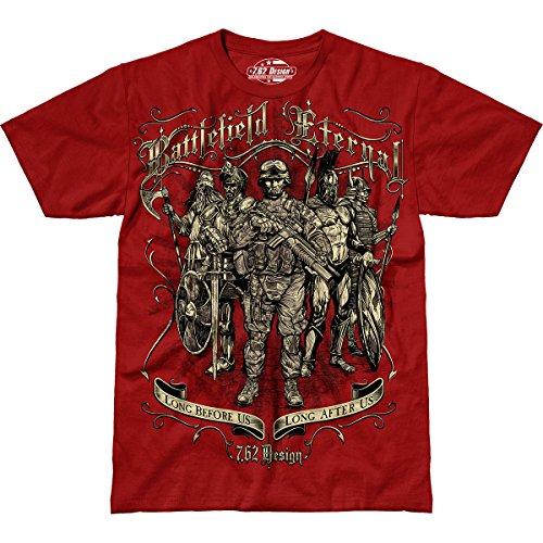 7.62 Design Battlefield Eternal' Men's Jumbo Print T-Shirt Scarlet MD (Design T-shirt Print 7.62)