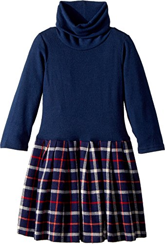 fiveloaves twofish Girl's Little Knit Flannel Dress Navy Plaid (Big Kids) Navy/Red Plaid (Navy Red Plaid Dress)