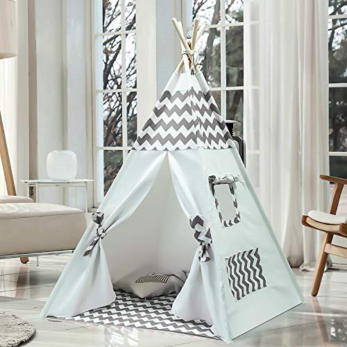 Kids Teepee Tent for Boys Girls Children Teepee Play Tent Indoor Outdoor with Carry Case, Floor Mat, Portable Indian Canvas Tipi Tent for Toddlers Baby Kids Room Decor (Grey Chevron Teepee) -