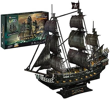 LED Light Mysterious Queen Revenge 3D Puzzle Model Ship Pirates Black Pearl DIY