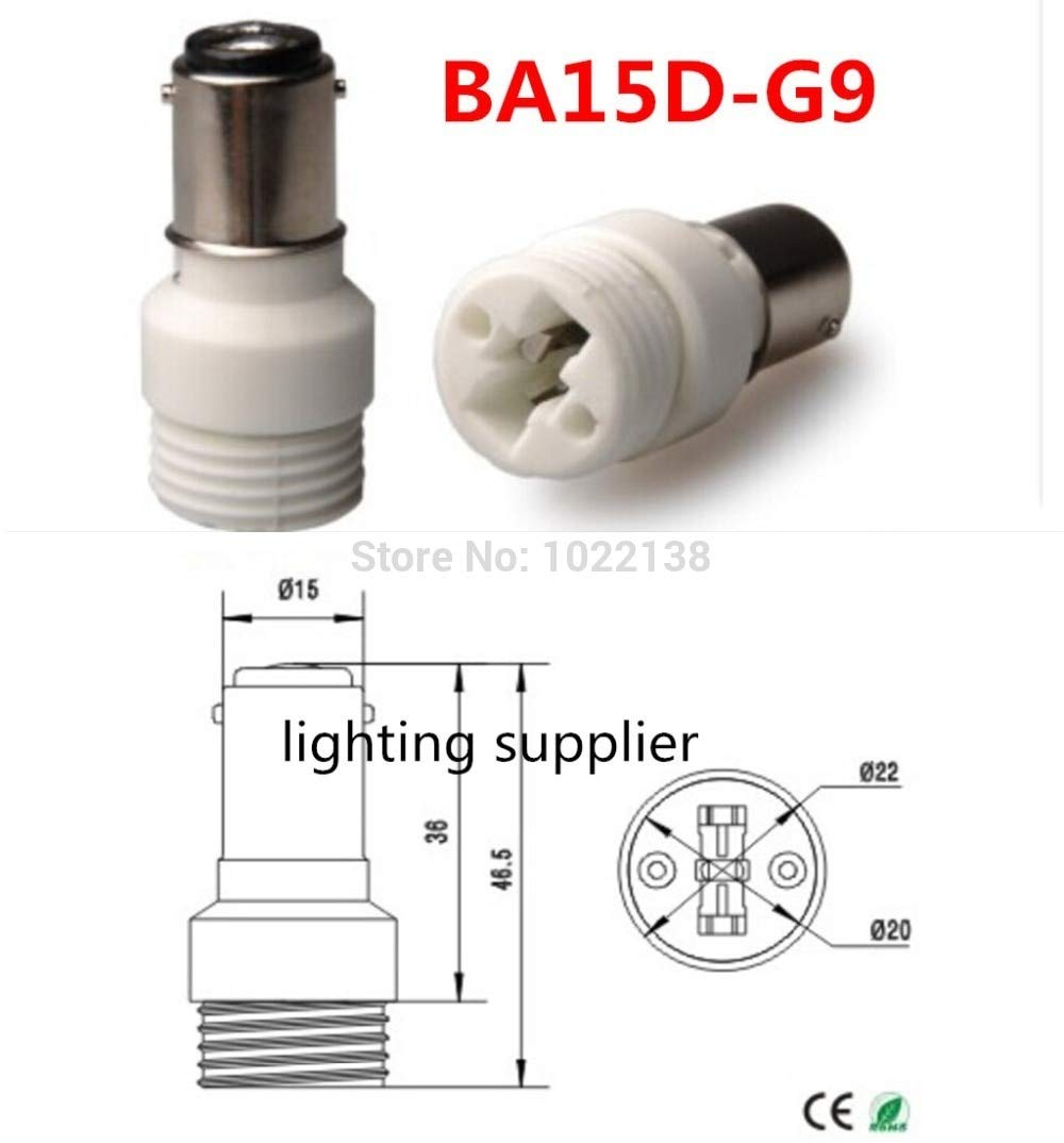 Halica 200pcs BA15D to G9 Lamp Holder Converter-Led Light Bulb BA15D-G9 Lamp Socket Adapter lamp base
