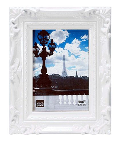 Kiera Grace Virginia Ornate Picture Frame, 4 by 6-Inch, White