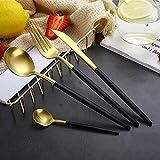 Lovelyback Best Hot Sale 4 Pcs/set Black Gold Dinnerware Set 304 Stainless Steel Western Cutlery Set Kitchen Food Tableware Dinner Set
