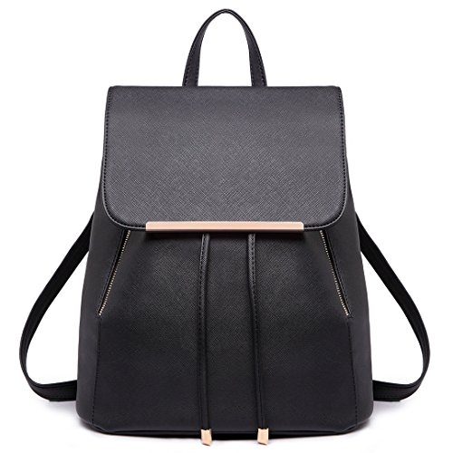 Miss Lulu Ladies Fashion PU Leather Backpack Rucksack Shoulder Bag (Black)