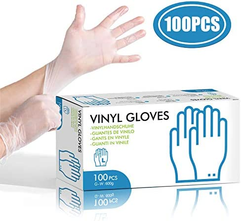 HOCOSY Disposable PVC Gloves, 100 pcs Powder Free, Comfortable Exam Gloves for Food Safe, Cleaning, Sanitary or Mechanic Tasks(Large)
