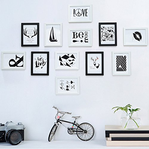 Home@Wall photo frame Solid WoodPhoto Frame Wall Sets Of 12, Hypotenuse Three-dimensional Photo Frame Wall Sets Combination Decorative Paintings Set ( Color : B ) by ZGP