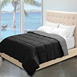 Alternative Comforter - Reversible Premium Ultra-Soft Down Alternative Comforter (Full/Queen, Black/Grey)
