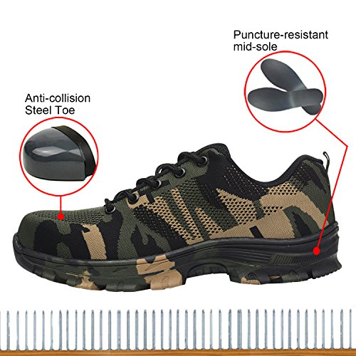 Steel Safety Work Shoes Shoes Camouflage Men's Toe Shoes Green Optimal TavwnqXx
