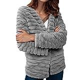 aliveGOT Womens Open Front Faux Fur Coat Vintage Parka Jacket Cardigan (S)