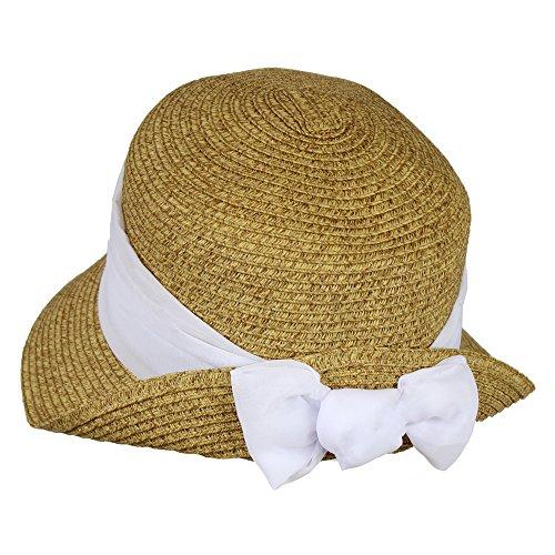White (Brown Cloche Hat)