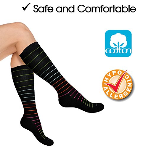 Cotton Compression Socks for Women. Graduated Stockings for Travel, Flight, Pregnancy, Nurses, Maternity, Varicose Veins, Calf Support. 15-20 mmHg Airplane Traveling Hose. Knee High 1 Pair by SocksLane (Image #2)