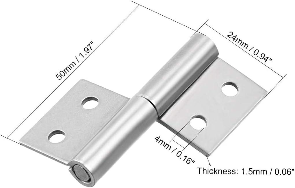 sourcing map Charni/ère /à drapeau en acier de 2 pouces avec petit joint coulissant Soulever la porte /à droite