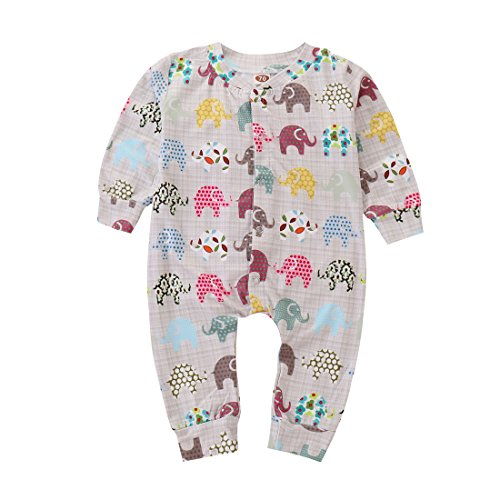 NZRVAWS Toddler Baby Zoo Romper Long-Sleeved Bodysuit Jumpsuit,Baby Elephant Outfit (18-24 Months, Light Grey)