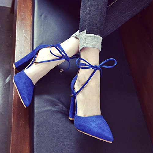 MMLC Women's Solid Color Pointed Shoes Thick Heel Suede High Heeled Shoes Sandals Blue kpP6l