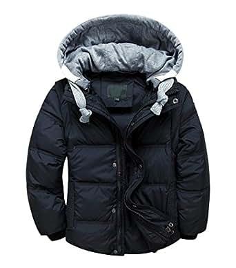 LOKTARC Boys Girls Down Puffer Jacket Vest Padded Winter Coat with Hood Removable Black 10-11T/Height 140-150cm