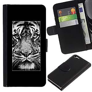 KLONGSHOP // Tirón de la caja Cartera de cuero con ranuras para tarjetas - cartel rugido del tigre África animal majestuoso - Apple Iphone 6 //