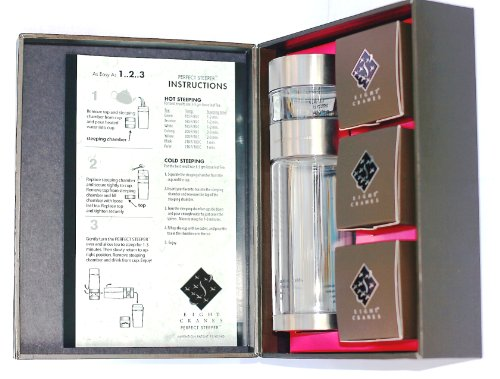 Eight Cranes PS-GG-3T Perfect Steeper Portable Loose Leaf Tea Brewer and 8-Ounce Glass Tea Tumbler Gift Set Includes 3 Teas