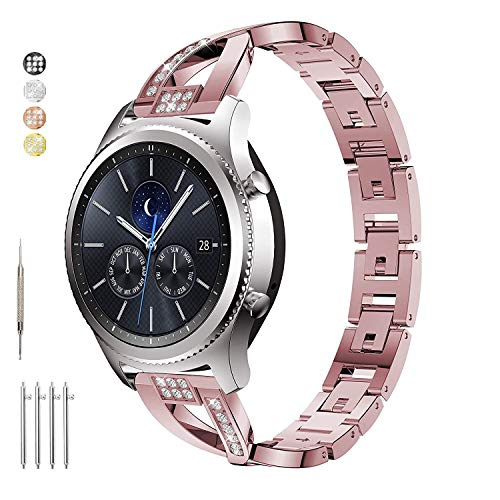 Taolla for Gear S3 Frontier/Classic Watch Bands, Galaxy Watch 46mm Band, Metal Replacement Bracelet Wristband Sport Strap Compatible Samsung Gear S3 Frontier/Classic Smart Watch + Galaxy Watch 46mm