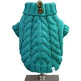 FouFou Dog Urban Knit Sweater, Teal, X-Small, My Pet Supplies