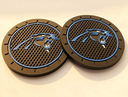 CAR FANS 2Pcs Durable Silicone Cup Holder mat for Carolina Panthers,Auto Cup Holder Insert Coaster pad(Carolina Panthers)