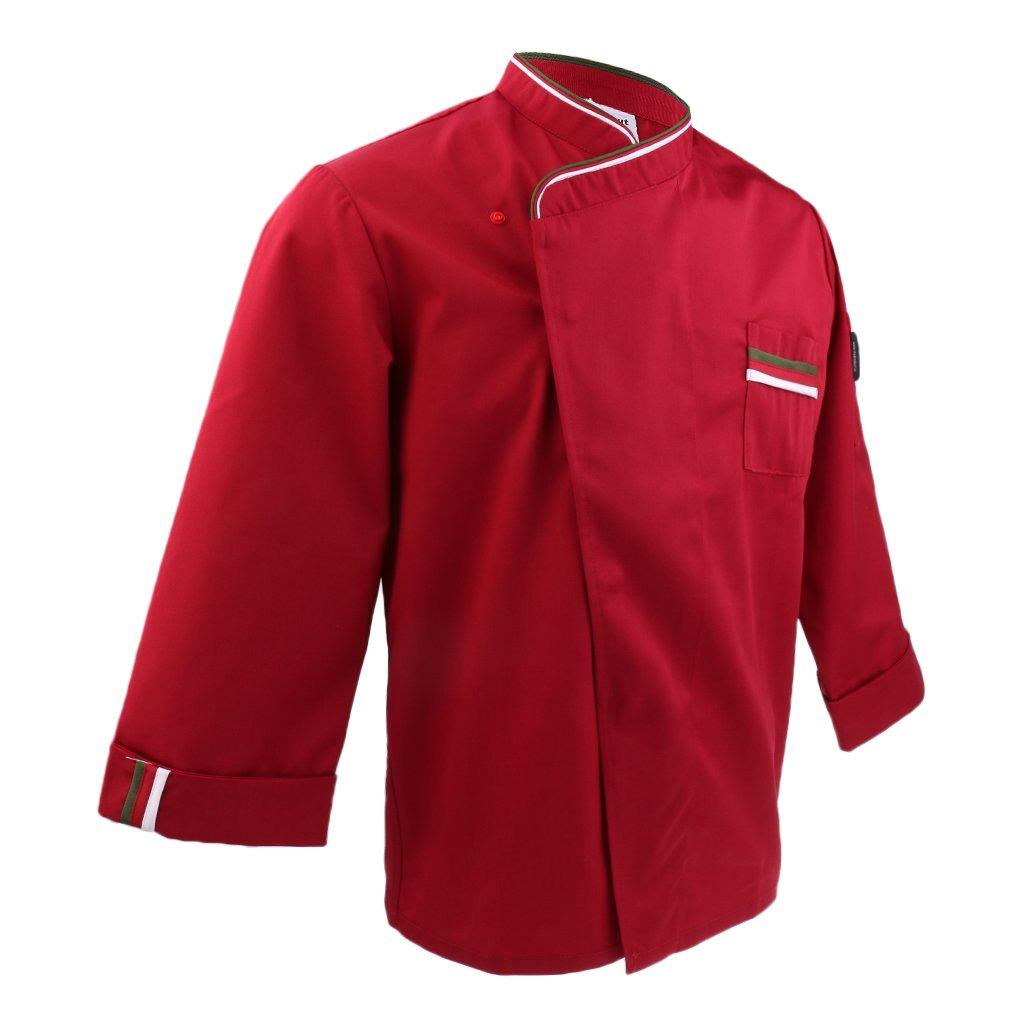 Fenteer Atmungsaktive Kochjacke Langarm Bä ckerjacke Kochhemd Arbeitsjacke Gastronomie Koch Berufsbekleidung