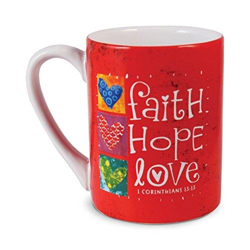 Lighthouse Christian Products Color Block Faith Hope Love Ceramic Mug, 14 oz