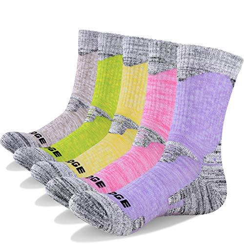 YUEDGE 5 Packs Women's Antiskid Wicking Outdoor Multi Performance Hiking Cushion Socks, Assortment 5Pack Pink/Red/Green/Yellow/Purple, Women Shoe 7-10.5 US - Assortment Blister