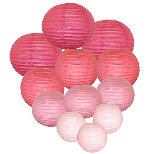 Just Artifacts Decorative Round Chinese Paper Lanterns 12pcs Assorted Sizes & Colors (Color: Pinks)