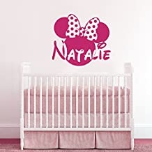 Wall Decals Custom Name Baby Personalized Name Nursery Kids Boys Girls Disney Head Mice Ears Bow Minnie Mouse Wall Vinyl Decal Stickers Bedroom Murals