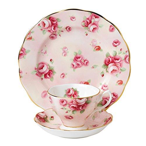 3 Piece Pottery Roses - Royal Albert 3 Piece 100 Years 1980 Teacup, Saucer & Plate Set, 8