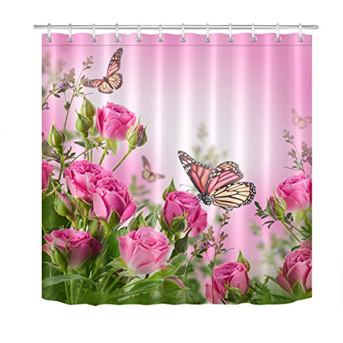 LB Rose Floral Shower Curtain Pink Flowers with Butterflies in Garden Art Print Girls Shower Curtain 72x72 Inch Waterproof Fabric with 12 Hooks