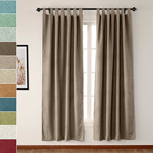 ChadMade Luxury Textured Faux Linen Window Curtain Flax 50