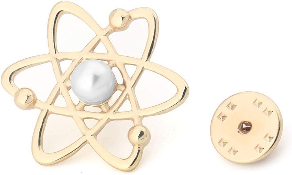 MANZHEN Science Symbol Lapel Pin Creative Neutron Hydrogen Atomic Brooch Pin Scientists Nucleus Jewelry Gift