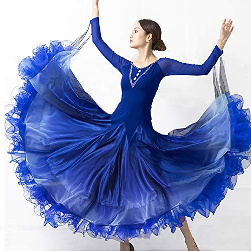 割引購入 garuda レディース社交ダンス衣装 高級ダンスドレス 社交ダンスワルツ ブルー garuda 競技ワンピース ボリューム 3色 B07P9M18GQ XL|ブルー 3色 ブルー XL, 三和町:a670a301 --- a0267596.xsph.ru