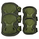 Knee & Elbow Pads , ADiPROD (4 pcs) Adjustable Tactical Airsoft Combat Sports-Protective Skate Knee Pads (Green)