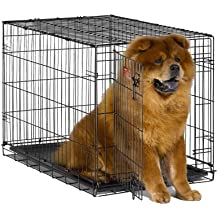 """MidWest iCrate 36"""" Folding Metal Dog Crate w/ Divider Panel, Floor Protecting """"Roller"""" Feet & Leak-Proof Plastic Tray; 36L x 23W x 25H Inches, Intermediate Dog Breed"""