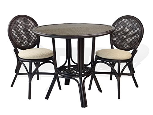 3 Pc Denver Rattan Wicker Dining Set Round Table w/Wicker+2 Side Chairs. Dark Brown Color